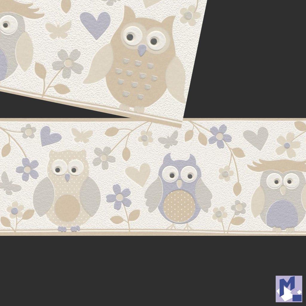 bordure rasch 459210 owls papier peint hiboux marron clair. Black Bedroom Furniture Sets. Home Design Ideas